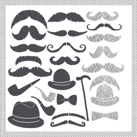 bowler: vintage set with mustaches, hats and pipes Illustration