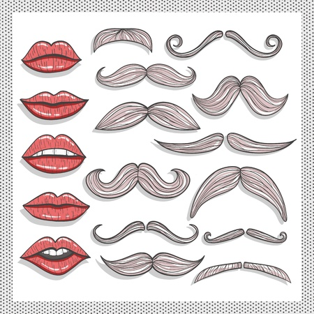 beard woman: Retro lips and mustaches elements set
