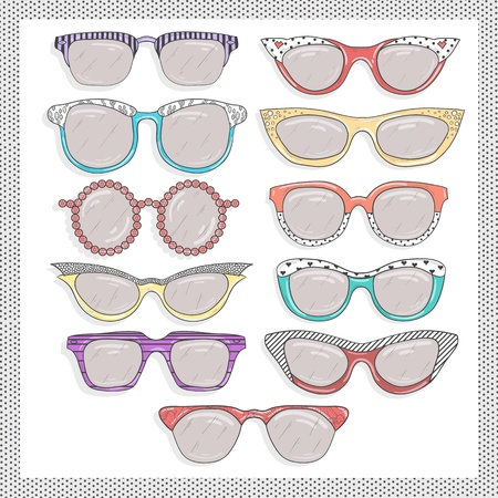 retro sunglasses set Vector