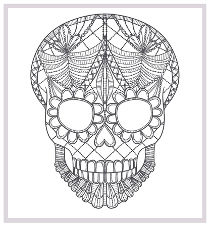 skull tattoo: Abstract skull lace ornament  Illustration