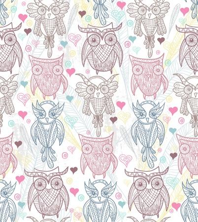 Cute owl seamless pattern 向量圖像
