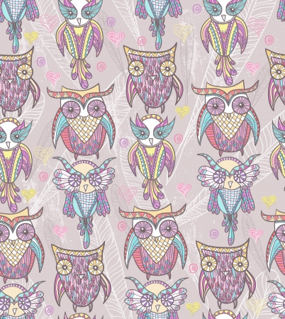 Cute owl seamless pattern Illustration