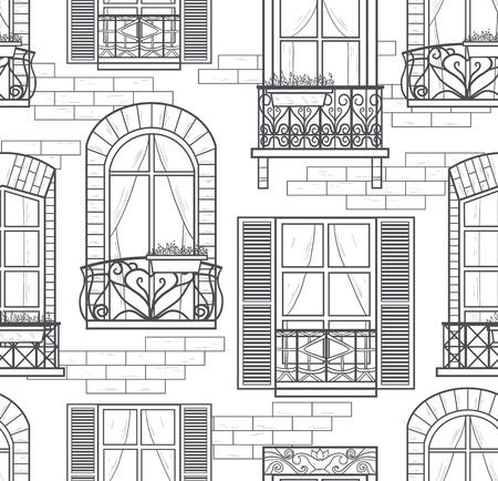 lijntekening: naadloze ramen naadloze patroon