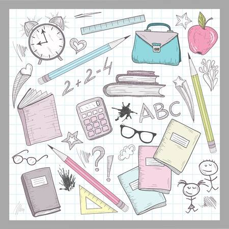 School supplies elements on lined sketchbook paper background Illustration