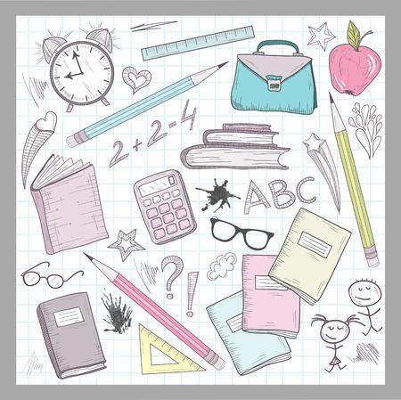 utiles escolares: Suministros de elementos escolares en el fondo forrado de papel sketchbook