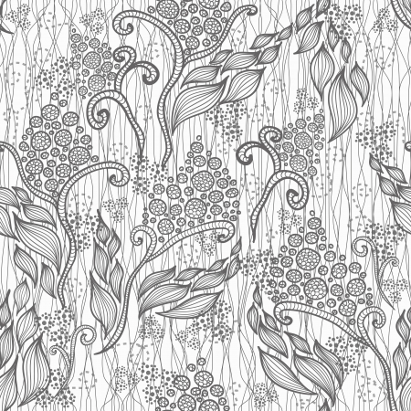 Abstract floral pattern. Seamless pattern with flowers and butterfly. Floral background.