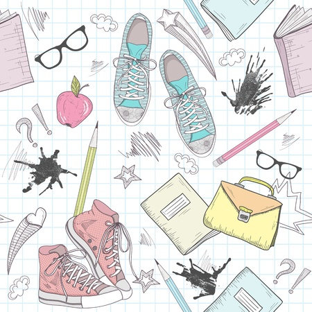 Cute school abstract pattern. Seamless pattern with shoes, bags, glasses, stars, books and ink stains. Fun pattern for teenagers or children. Illustration