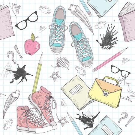 zapatos escolares: Lindo modelo escolar abstracto. Patr�n sin fisuras con zapatos, bolsos, gafas, las estrellas, los libros y las manchas de tinta. Diversi�n modelo para los adolescentes o ni�os. Vectores