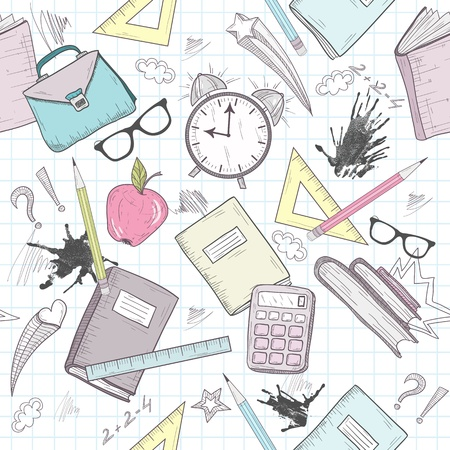 Cute school abstract pattern. Seamless pattern with alarm clock, bags, glasses, stars, books and ink stains. Fun pattern for teenagers or children.