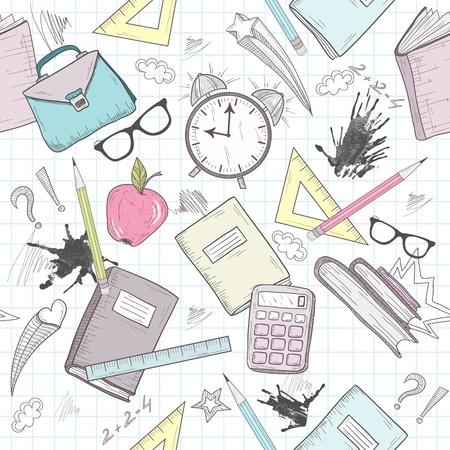 Lindo modelo escolar abstracto. Patrón sin fisuras con reloj despertador, bolsos, gafas, las estrellas, los libros y las manchas de tinta. Diversión modelo para los adolescentes o niños. Ilustración de vector