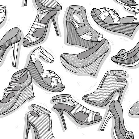 shoe print: Fashion shoes seamless pattern for girls Illustration