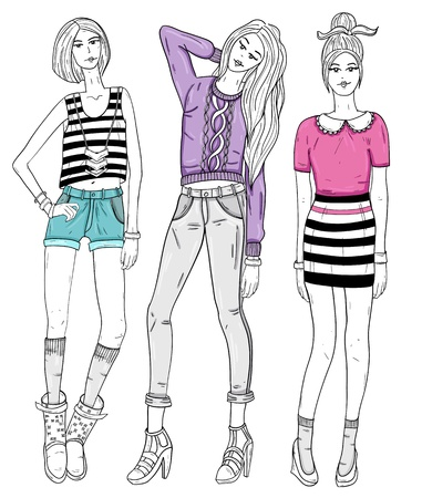 Young fashion girls illustration