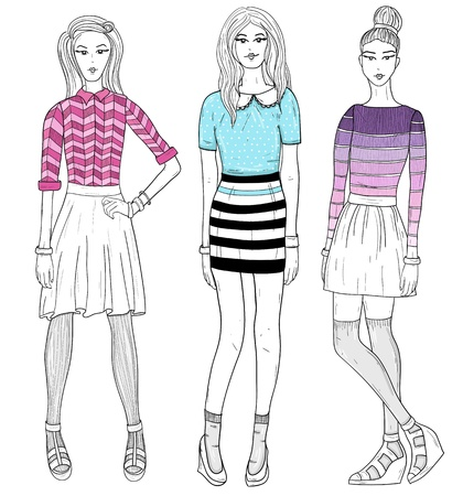 Young fashion girls illustration  Vector