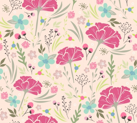 flores vintage: Seamless floral pattern  Background with flowers and leafs