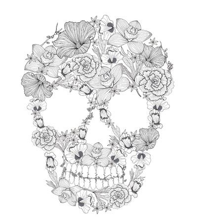 skull tattoo: Schedel van bloemen