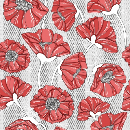 drawing on the fabric: seamless floral poppy pattern