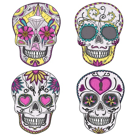 Mexican skull set  Colorful skulls with flower and heart ornamens  Sugar skulls  Vector