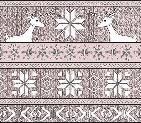 fair isle: Disegnato a mano senza soluzione di sfondo a maglia in stile Fair Isle con cervi e fiocchi di neve