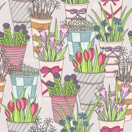 Cute seamless floral pattern  Pattern with flowers in buckets  Vector
