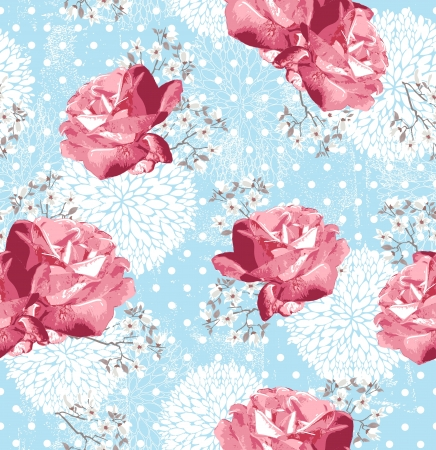 Seamless pattern with flowers  Floral background with roses and cherry blossom