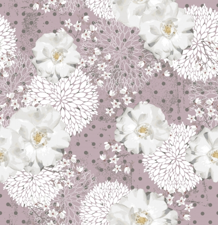 Seamless pattern with flowers  Floral background with roses and cherry blossom Vector
