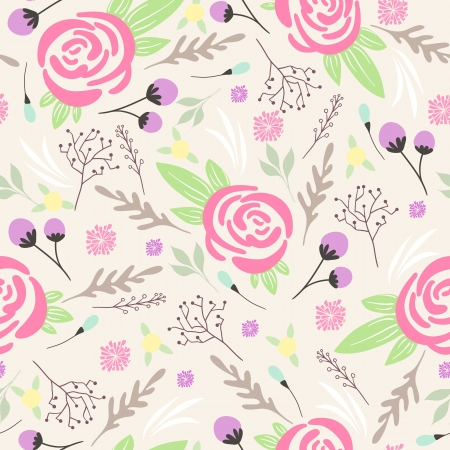 Seamless floral pattern  Background with flowers and leafs Illustration