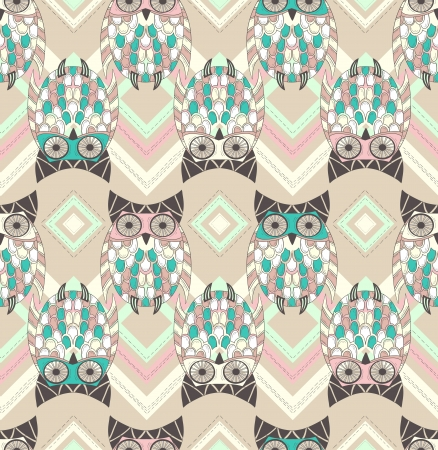 owl on branch: Cute owl seamless pattern with native elements