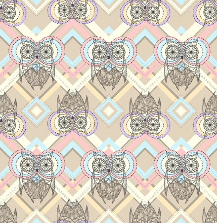 Cute owl seamless pattern with native elements Stock Vector - 16457846