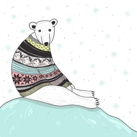 Christmas card with cute polar bear  Bear with fair isle style sweater