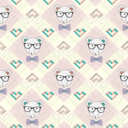 Seamless pattern with hipster polar bear and hearts. Cute background for children or teenagers. Vector