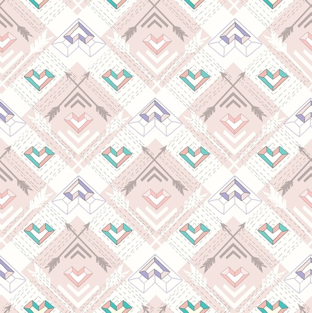Abstract geometric seamless pattern. Aztec style pattern with hearts. Cute background for children or teenagers Vector