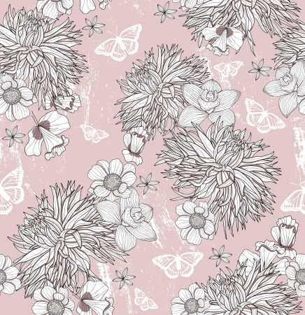 Seamless floral pattern. Background with flowers and butterflies. Stock Vector - 17791832