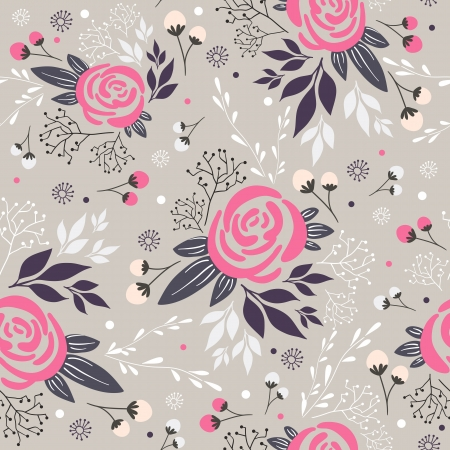Seamless floral pattern. Background with flowers, leafs and berries. Vector