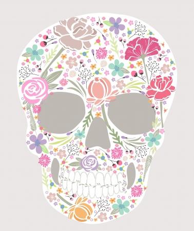 totenk�pfe: Sch�del aus Blumen Illustration