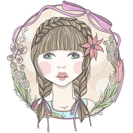 braid: Pretty girl with flowers and butterfly element frame. Illustration