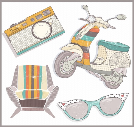 pinup: Retro elements set. Armchair, scooter,camera and sunglasses