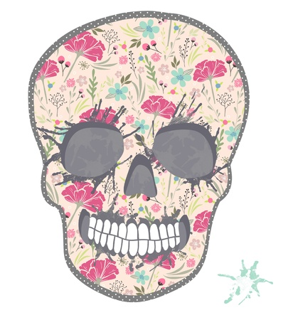 Cute skull with floral pattern. Skull from flowers. Vector