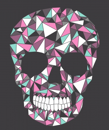 macabre: Skull with geometric pattern. Illustration