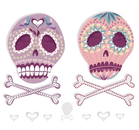Mexican skull set. Colorful skulls with flower and heart ornamens. Sugar skulls