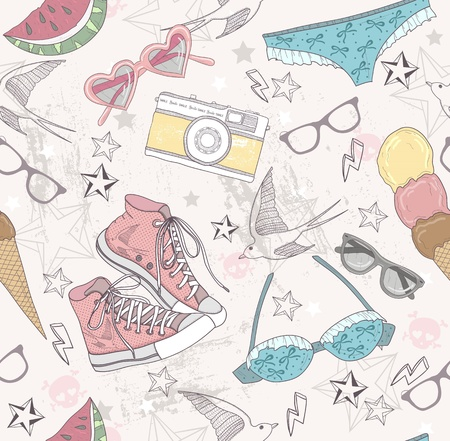photo camera: Cute summer abstract pattern. Seamless pattern with swimsuits, sunglasses, sun glasses, sneakers, and ice creams . Fun pattern for children or teenager girls