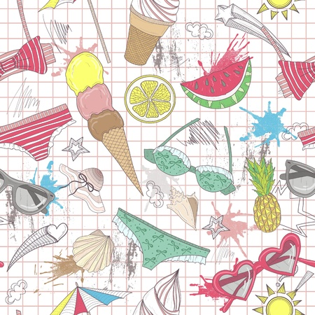 Cute summer abstract pattern. Seamless pattern with swimsuits, sunglasses, suns, ice creams, and seashells . Fun pattern for children or teenager girls.   Vector