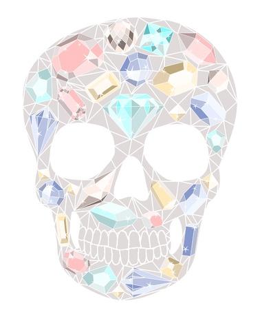 Skull with gemstones pattern. Vector