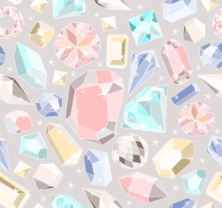 Seamless pastel diamonds pattern. Background with colorful gemstones. Ilustração