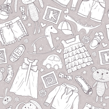 patter: Cute patter with toys and clothes for children Illustration