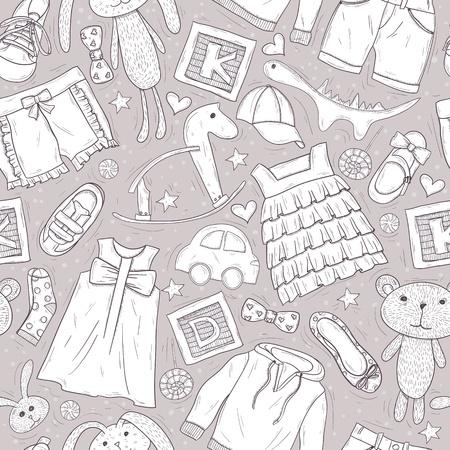 jardin de infantes: Golpeteo lindo con los juguetes y ropa para los ni�os