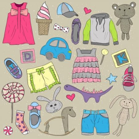 car clothes: Children clothes and toys design  elements set