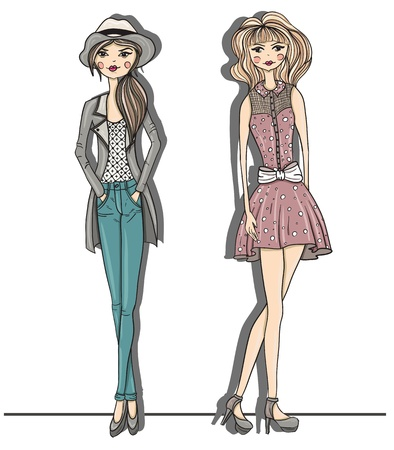 Young fashion girls illustration. Vector illustration. Background with teen females in fashionable clothes posing. Fashion illustration. Vector