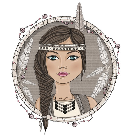 hair feathers: Cute native american girl and feathers frame. Illustration