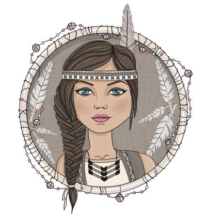 Linda chica americana nativa y plumas marco. Ilustración de vector