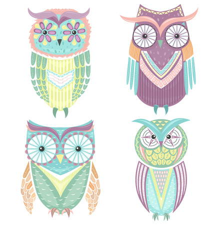 an owl: Set of cute colorful owls